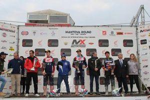 Podio con Mitch Evans, HRC Honda, Tim Gajser, HRC Honda MX1, Tony Cairoli, RedBull KTM