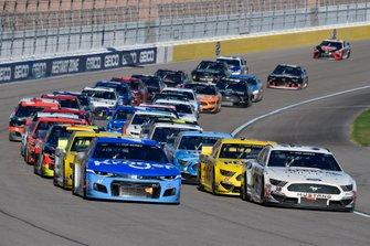Ricky Stenhouse Jr., JTG Daugherty Racing, Chevrolet Camaro Kroger and John H. Nemechek, Front Row Motorsports, Ford Mustang Berry's Bullets