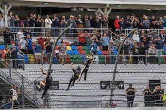 Noah Gragson, JR Motorsports, Chevrolet Camaro celebrates his victory