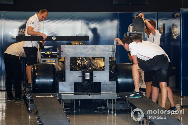 A Mercedes AMG F1 W10 undergoes technical scrutineering