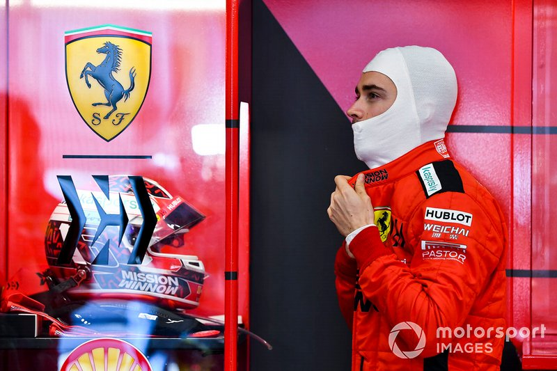Charles Leclerc, Ferrari in the garage