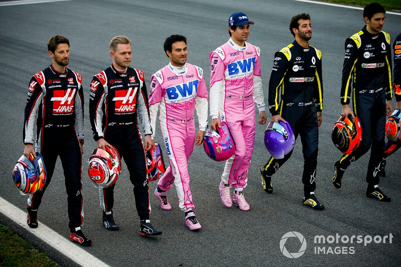 Romain Grosjean, Haas F1, Kevin Magnussen, Haas F1, Sergio Perez, Racing Point, Lando Norris, McLaren, Daniel Ricciardo, Renault F1 and Esteban Ocon, Renault F1