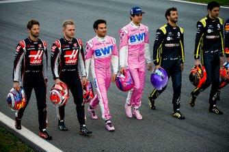 Romain Grosjean, Haas F1, Kevin Magnussen, Haas F1, Sergio Perez, Racing Point, Lando Norris, McLaren, Daniel Ricciardo, Renault F1 et Esteban Ocon, Renault F1