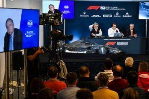 F1-reglementen voor 2021 worden aangekondigd, Jean Todt, President, FIA, Ross Brawn, Managing Director of Motorsports, FOM, Nikolas Tombazis en Chase Carey, voorzitter Formule 1