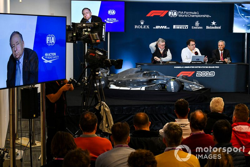 The 2021 Formula 1 technical regulations are announced, Jean Todt, President, FIA, Ross Brawn, Managing Director of Motorsports, FOM, Nikolas Tombazis and Chase Carey, Chairman, Formula 1