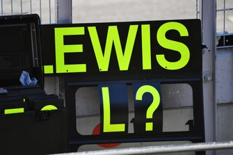 A pit board for Lewis Hamilton, Mercedes AMG F1
