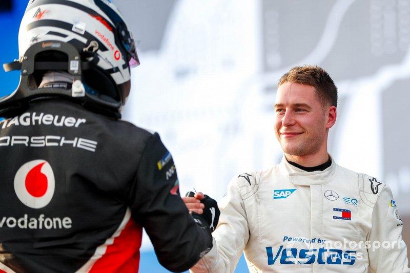 Andre Lotterer, Porsche, Stoffel Vandoorne, Mercedes Benz EQ congratulate each other on the podium