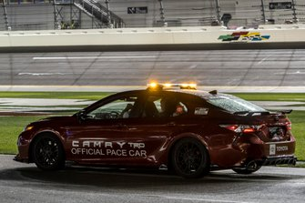 Toyota Camry TRD pace car covered in rain