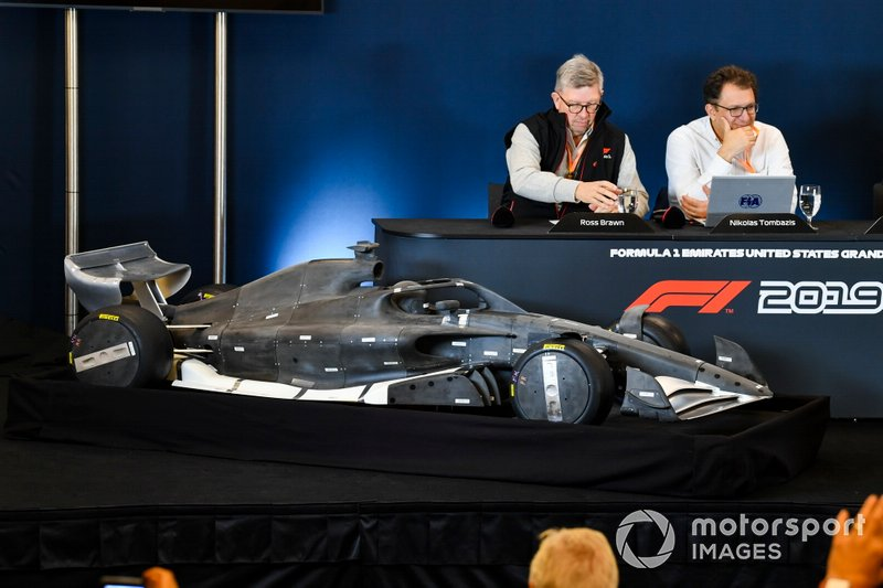 Ross Brawn, Managing Director of Motorsports, FOM, Chase Carey, Chairman, Formula 1 and Nikolas Tombazis unveil the 2021 Formula 1 regulations in a press conference