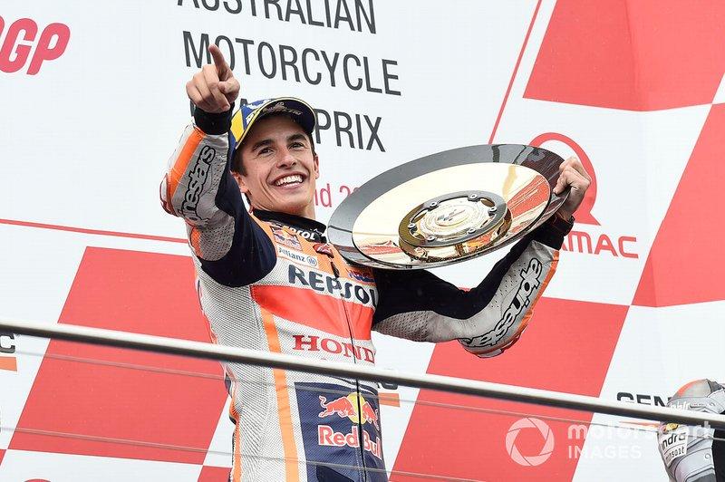 С 16-ю подиумами за сезон Маркес уже повторил свой лучший результат, показанный в 2013-м, в год дебюта испанца в MotoGP. А ведь впереди еще три гонки...