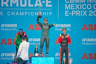 Mitch Evans, Jaguar Racing, celebrates on the podium after winning the race