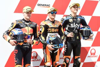 Polesitter Jorge Navarro, Speed Up Racing, second place Brad Binder, KTM Ajo, third place Luca Marini, Sky Racing Team VR46