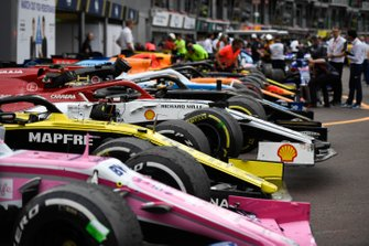 The cars in Parc Ferme after the race