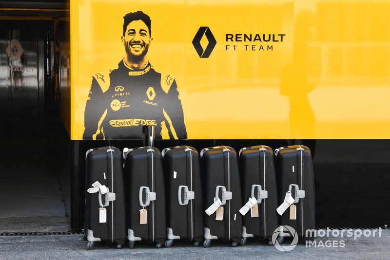 Suitcases outside of the Renault garage
