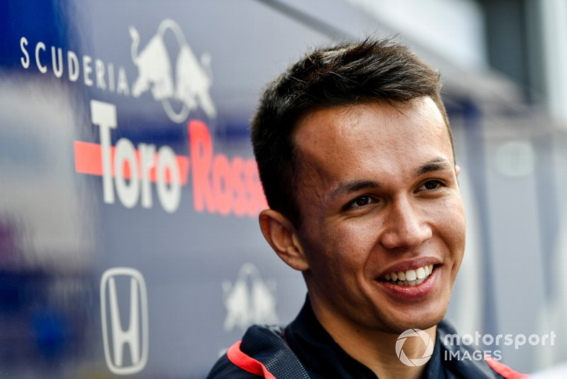 Alexander Albon, Toro Rosso speaks with the media
