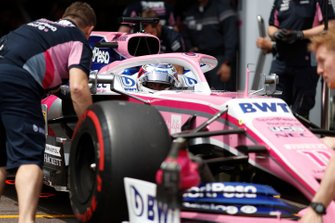 Sergio Perez, Racing Point RP19, is returned to the garage by mechanics