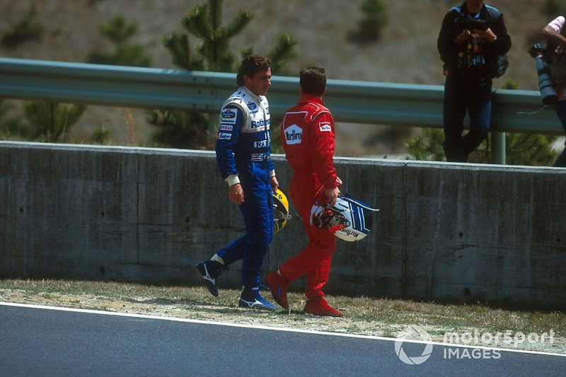 Ayrton Senna, Williams; Nicola Larini, Ferrari