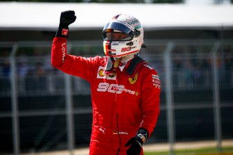 Sebastian Vettel, Ferrari celebrates taking pole position in Parc Ferme