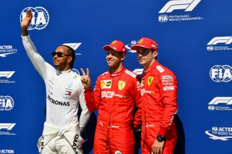 Top three Qualifiers Lewis Hamilton, Mercedes AMG F1, pole man Sebastian Vettel, Ferrari, and Charles Leclerc, Ferrari