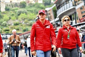 Mick Schumacher in the pit lane