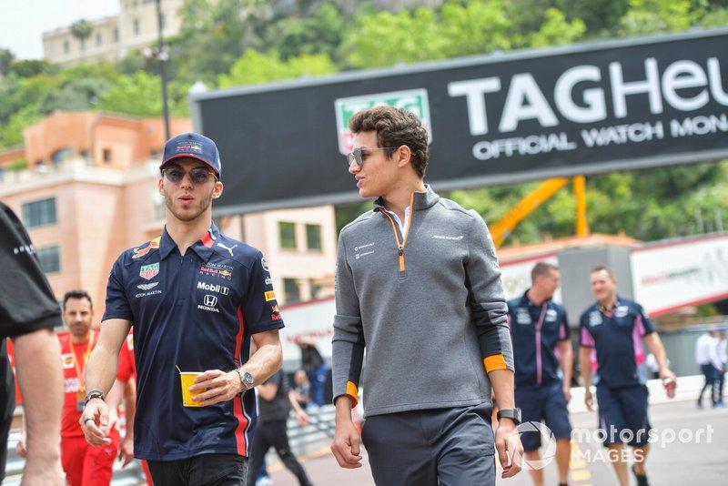 Pierre Gasly, Red Bull Racing and Lando Norris, McLaren