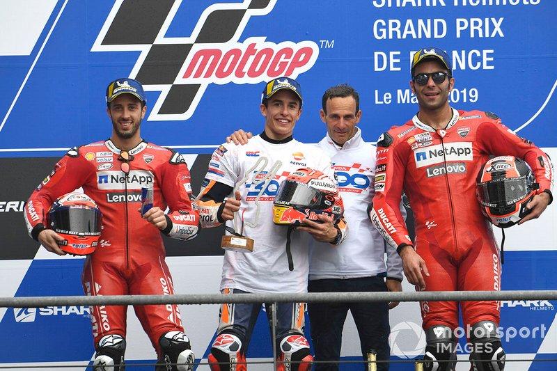 Podio: il vincitore della gara Marc Marquez, Repsol Honda Team, il secondo classificato Andrea Dovizioso, Ducati Team, il terzo classificato Danilo Petrucci, Ducati Team, Alberto Puig, Repsol Honda Team Team Principal