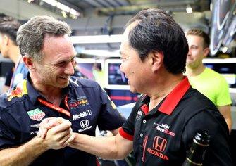 Christian Horner, Red Bull Racing teambaas, Toyoharu Tanabe, Honda F1 technisch directeur