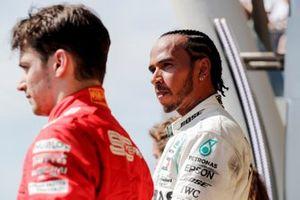 Podio: ganador de la carrera Lewis Hamilton, Mercedes AMG F1 y el tercer lugar Charles Leclerc, Ferrari