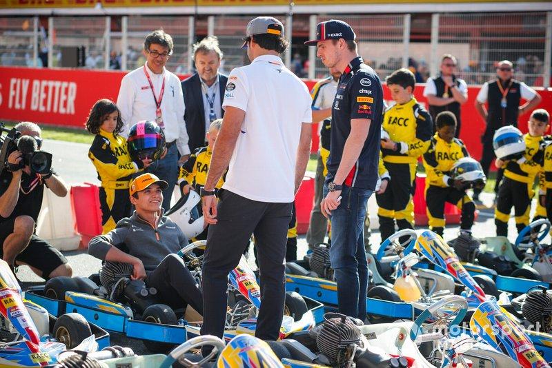 Lando Norris, McLaren, Carlos Sainz Jr., McLaren and Max Verstappen, Red Bull Racing at the RACC Kids karting event