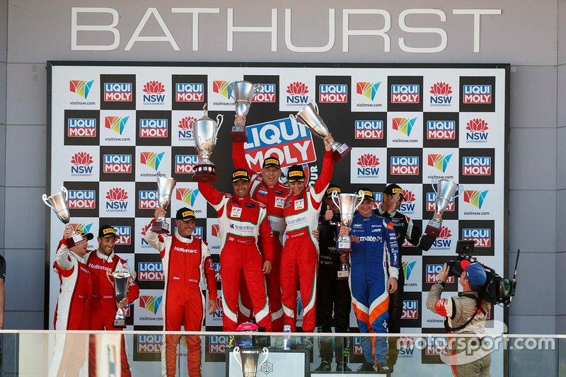 Podium Pro-Am: winners #51 Spirit of Race Ferrari 488 GT3: Paul Dalla Lana, Pedro Lamy, Mathias Lauda, second place #98 Matt Stone Racing Audi R8 LMS: Todd Hazelwood, Roger Lago, David Russell, third place #9 Audi Sport Team MPC Audi R8 LMS: Marc Cini, Lee Holdsworth, Dean Fiore