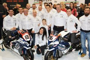 Ayrton Badovini, Jordi Torres, with the Pedercini Racing members