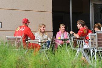 Sebastian Vettel, Ferrari with Mick Schumacher, Ferrari