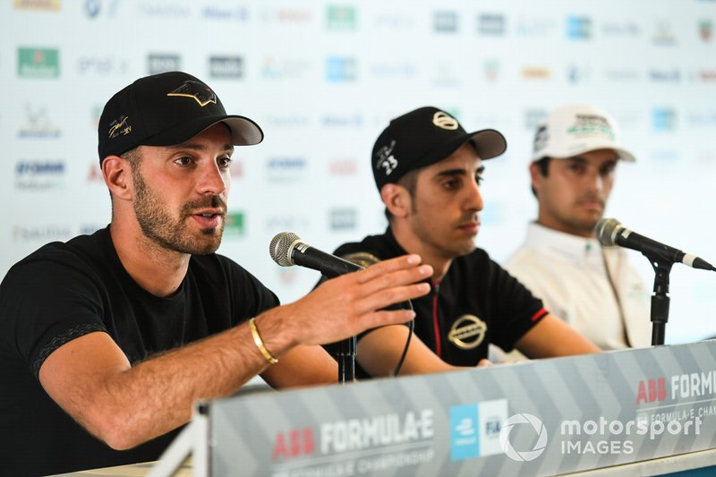 Jean-Eric Vergne, DS TECHEETAH,Sébastien Buemi, Nissan e.Dams,Nelson Piquet Jr., Panasonic Jaguar Racing, and Lucas Di Grassi, Audi Sport ABT Schaeffler in the press conference