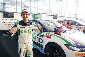 Sérgio Jimenez, Jaguar Brazil Racing, celebrates pole position