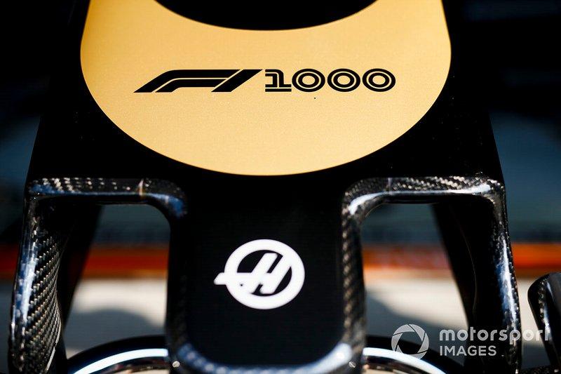 Un logo pour le 1000e GP de l'Histoire sur la Haas F1 Team VF-19