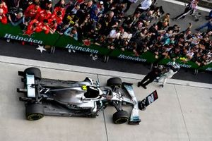 Valtteri Bottas, Mercedes AMG F1, 2nd position, celebrates in Parc Ferme