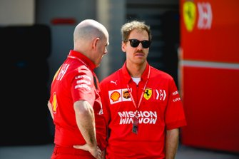 Sebastian Vettel, Ferrari and Jock Clear, Race Engineer, Ferrari.
