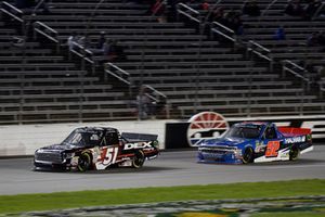 Harrison Burton, Kyle Busch Motorsports, Toyota Tundra DEX Imaging, Stewart Friesen, Halmar Friesen Racing, Chevrolet Silverado We Build America