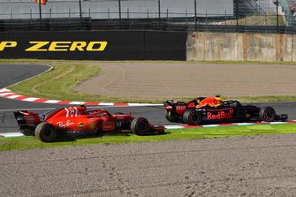 Kimi Raikkonen, Ferrari SF71H en Max Verstappen, Red Bull Racing RB14
