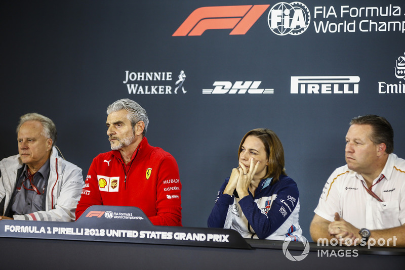 Gene Haas, Team Owner, Haas F1, Maurizio Arrivabene, Team Principal, Ferrari, Claire Williams, Deputy Team Principal, Williams Racing, and Zak Brown, Executive Director, McLaren Racing, in the team principals Press Conference