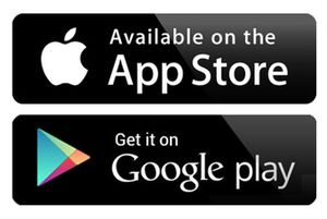 App store and Google Play logo