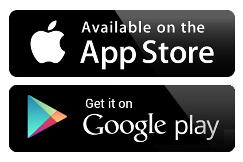 App store and Google Play logo at Motorsport com announcements