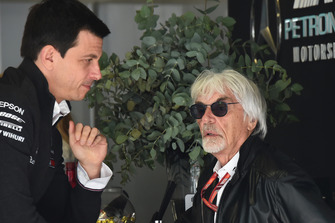 Toto Wolff, Mercedes AMG F1 Director of Motorsport and Bernie Ecclestone