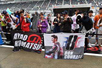 Romain Grosjean, Haas F1 Team fans and banner