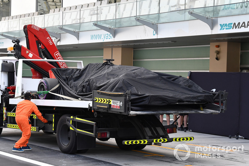 The car of Pietro Fittipaldi, Haas F1 Team VF-18 is recovered to the pits