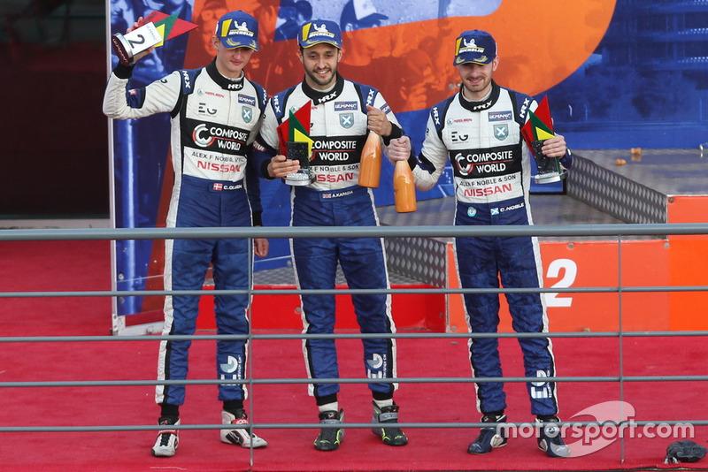 Podio: #7 Ecurie Ecosse / Nielsen Ligier JS P3 - Nissan: Colin Noble, Alex Kapadia, Christian Stubbe Olsen