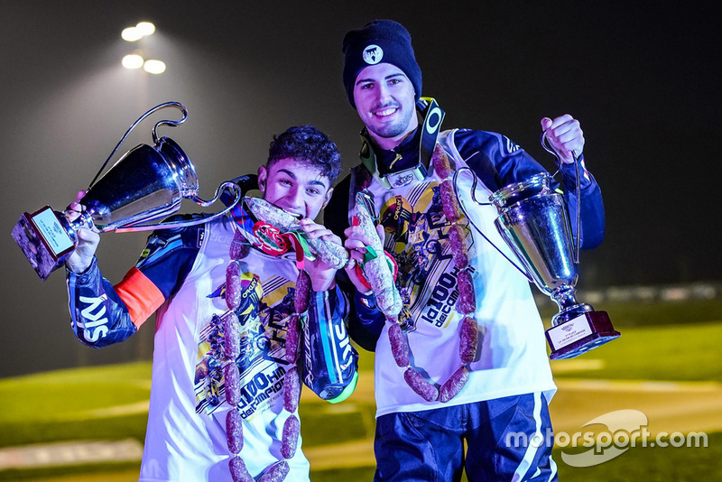 Dennis Foggia and Federico Fuligni celebrating their podium