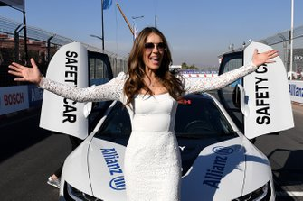 Actress Elizabeth Hurley with the Safety Car