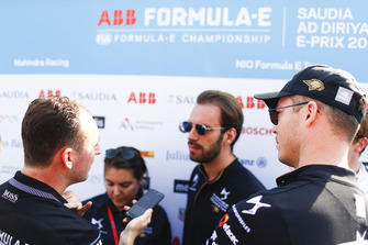 Andre Lotterer, DS TECHEETAH, watches as Jean-Eric Vergne, DS TECHEETAH, talks to the media