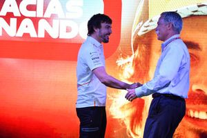 Chase Carey, Chief Executive Officer and Executive Chairman of the Formula One Group on stage as Fernando Alonso, McLaren says goodbye to the fans